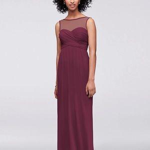 David's Bridal Long Mesh Dress, Illusion Neckline